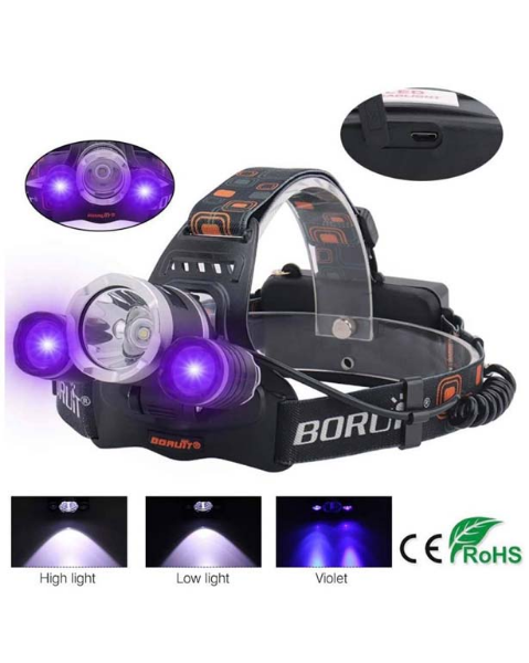 HEAD LAMP WITH 2PCS BATTERY & CHARGER resmi